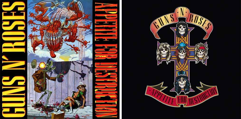 "Portadas de ""Appetite for Destruction"" de Guns N' Roses"